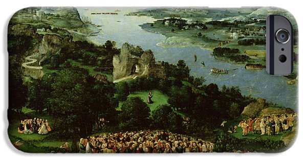 Apostle Philip iPhone Cases - The Feeding Of The Five Thousand Oil On Panel iPhone Case by Joachim Patenier or Patinir