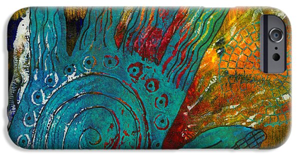 Printmaking iPhone Cases - The Feel Good Hand iPhone Case by Angela L Walker