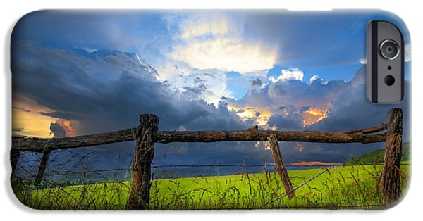Pioneer Scene iPhone Cases - The Fence at Cades Cove iPhone Case by Debra and Dave Vanderlaan