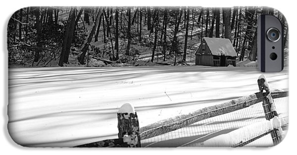 Grist Mill iPhone Cases - The Fence Line in Black and White iPhone Case by Paul Ward