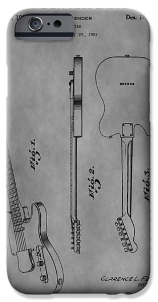 Music Drawings iPhone Cases - The Fender Telecaster iPhone Case by Dan Sproul