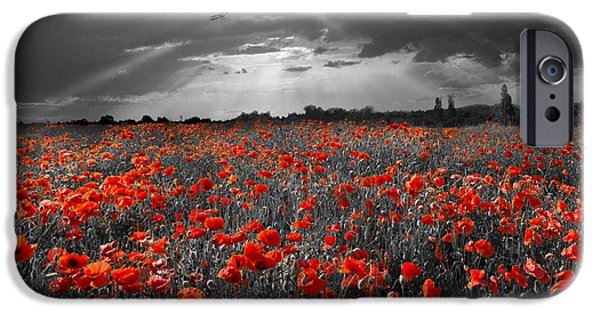 World War One Digital Art iPhone Cases - The final sortie aircraft over field of poppies WWI version iPhone Case by Gary Eason