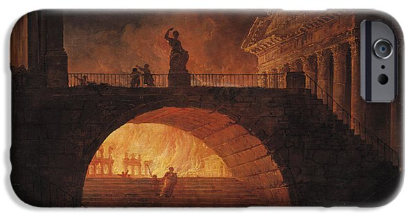 July Paintings iPhone Cases - The Fire of Rome iPhone Case by Hubert Robert