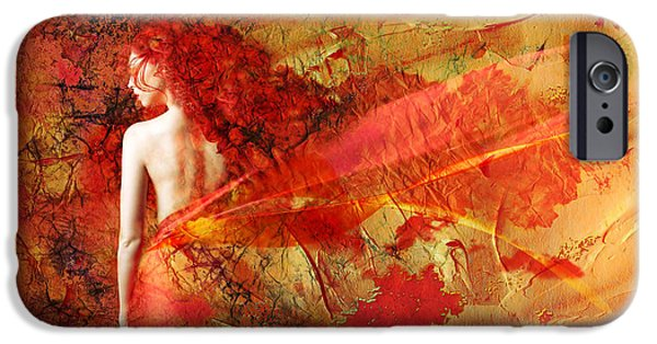 Painted Mixed Media iPhone Cases - The Fire Within iPhone Case by Photodream Art