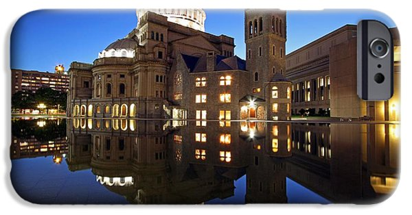 Home Improvement iPhone Cases - The First Church of Christ at Twilight iPhone Case by Juergen Roth