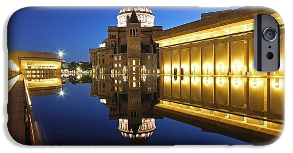 Home Improvement iPhone Cases - The First Church of Christ in Boston by Night iPhone Case by Juergen Roth