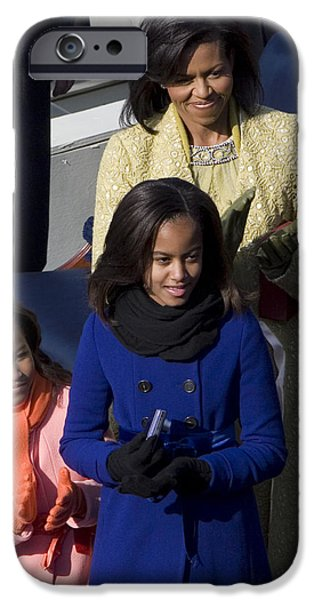 Michelle Obama Photographs iPhone Cases - The First Lady and Daughters iPhone Case by JP Tripp