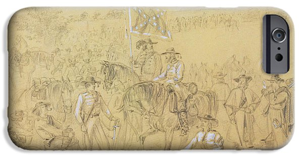 Horse Pastels iPhone Cases - The First Virginia Cavalry at a Halt iPhone Case by Alfred R Waud
