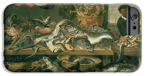 Abundance iPhone Cases - The Fish Market, 1618-21 Oil On Canvas iPhone Case by Frans Snyders or Snijders