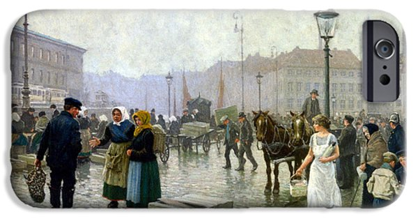 Horse And Buggy iPhone Cases - The Fish Market Copenhagen iPhone Case by Paul Gustav Fischer
