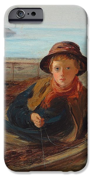 Sit-ins Paintings iPhone Cases - The Fisher Boy iPhone Case by William McTaggart