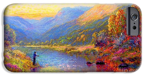 Sunset Paintings iPhone Cases - Fishing and Dreaming iPhone Case by Jane Small