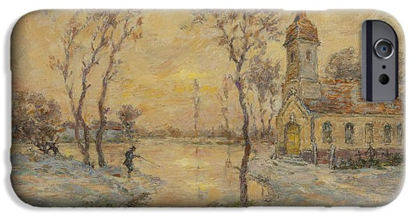 Snowy Weather iPhone Cases - The Fishermens Chapel Under Snow iPhone Case by Henri Duhem