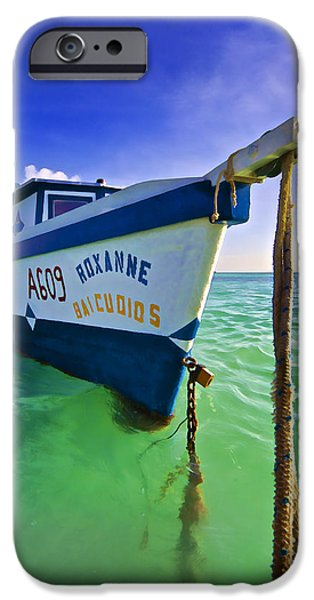 Pleasure iPhone Cases - The Fishing Boat Roxanne of Aruba iPhone Case by David Letts