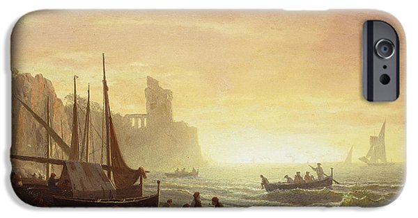 Sailboat Ocean iPhone Cases - The Fishing Fleet iPhone Case by Albert Bierstadt