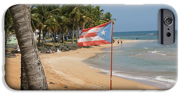 Landscapes Tapestries - Textiles iPhone Cases - The flag of Puerto Rico iPhone Case by Walter Bosque del Rio
