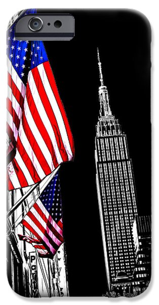 Empire State Building iPhone Cases - The Flag That Built An Empire iPhone Case by Az Jackson
