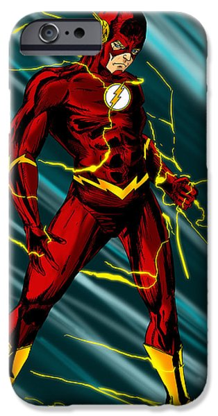 Justice League iPhone Cases - The Flash iPhone Case by Alexiss Jaimes
