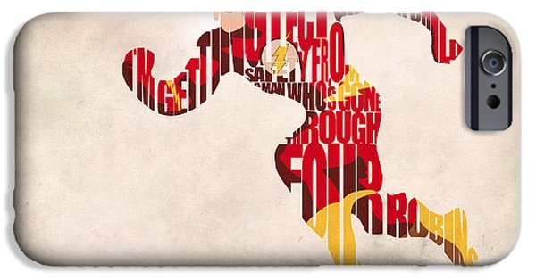 Comics iPhone Cases - The Flash iPhone Case by Ayse Deniz