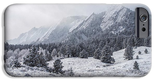 Frigid iPhone Cases - The Flatirons - Winter iPhone Case by Aaron Spong