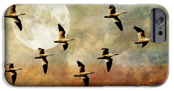 Lois Bryan Digital iPhone Cases - The Flight Of The Snow Geese iPhone Case by Lois Bryan