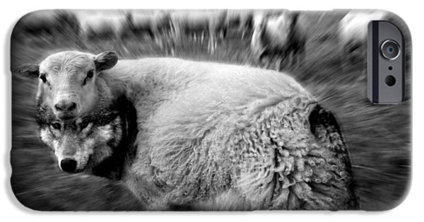 Monochrome Mixed Media iPhone Cases - The Flock Is Safe grayscale iPhone Case by Marian Voicu