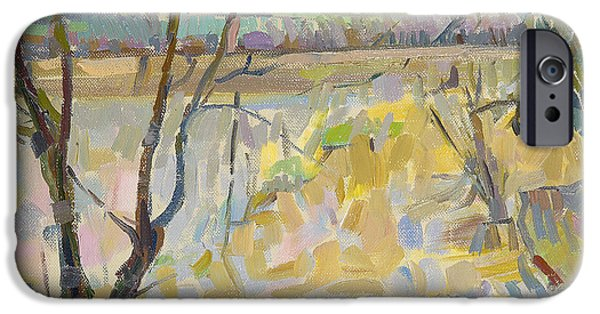Flooding iPhone Cases - The Flooded Cherwell From Rousham Ii Oil On Canvas iPhone Case by Erin Townsend
