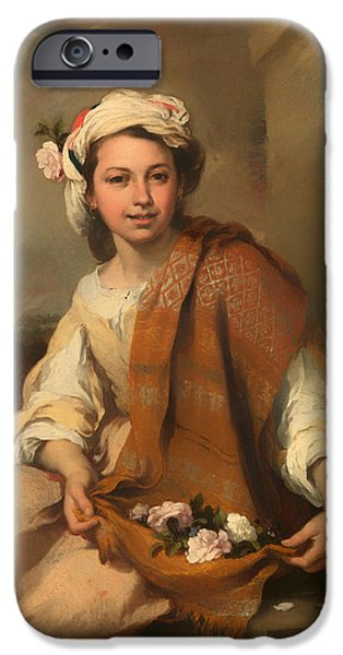 Ledge iPhone Cases - The Flower Girl iPhone Case by Bartolome Murillo