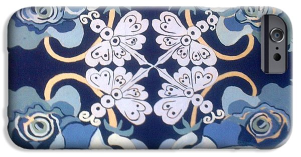 Flora Drawings iPhone Cases - The flower power of Blue iPhone Case by Karunita Kapoor