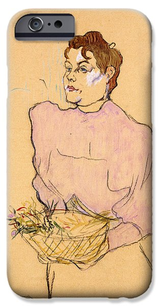 Plant Pastels iPhone Cases - The Flower Seller iPhone Case by Henri de Toulouse-Lautrec