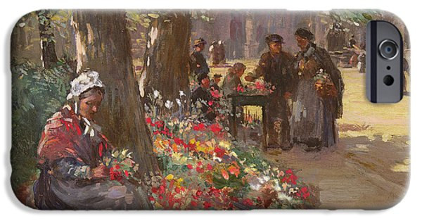 Flowerpot iPhone Cases - The Flower Seller iPhone Case by William Kay Blacklock