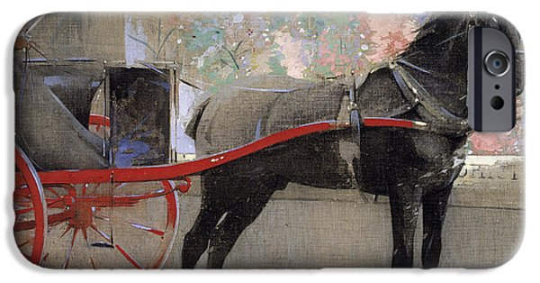 The Horse iPhone Cases - The Flower Shop iPhone Case by Joseph Crawhall