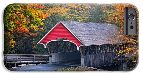 New Hampshire Fall Scenes iPhone Cases - The Flume Covered Bridge iPhone Case by Thomas Schoeller