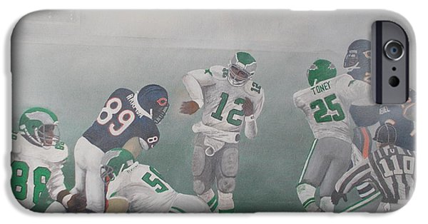 Soldier Field Paintings iPhone Cases - The Fog Bowl iPhone Case by Mark Richardson