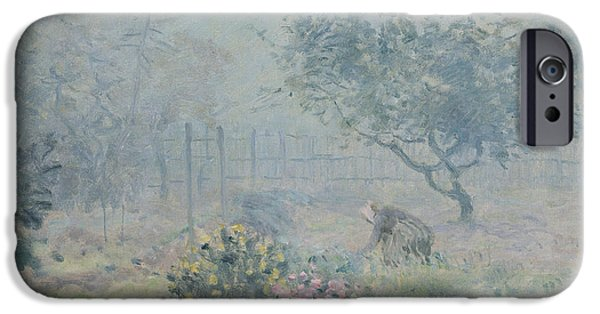 Mist iPhone Cases - The Fog, Voisins, 1874 Oil On Canvas iPhone Case by Alfred Sisley