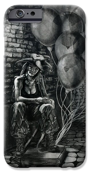 The Fool Dreamer Drawing iPhone Case by Kd Neeley