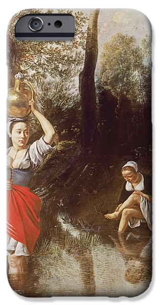 Bathing iPhone Cases - The Ford, 1665 Oil On Panel iPhone Case by Jan Siberechts