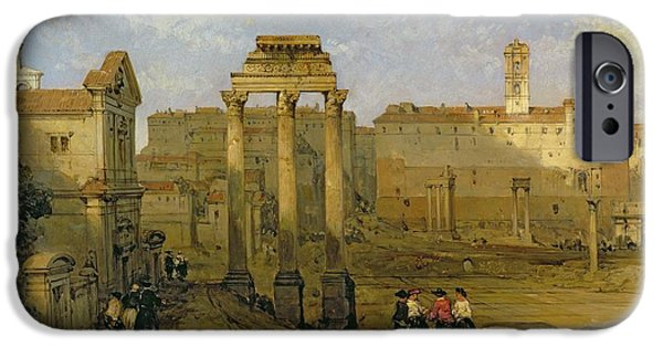Ruin iPhone Cases - The Forum, Rome, 1859 Oil On Panel iPhone Case by David Roberts