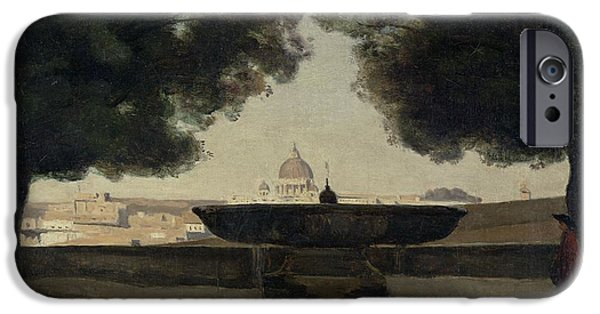 Basin iPhone Cases - The Fountain Of The French Academy In Rome, 1826-27 Oil On Canvas iPhone Case by Jean Baptiste Camille Corot
