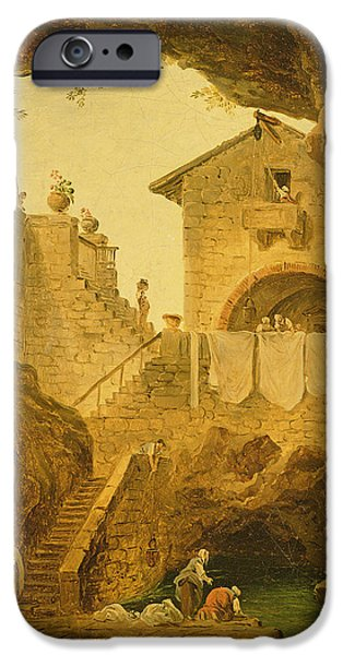 Labour iPhone Cases - The Fountain Under The Grotto Oil On Canvas iPhone Case by Hubert Robert