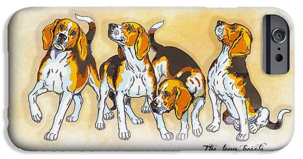 Graphic Design iPhone Cases - The four beagles iPhone Case by Don Kuing