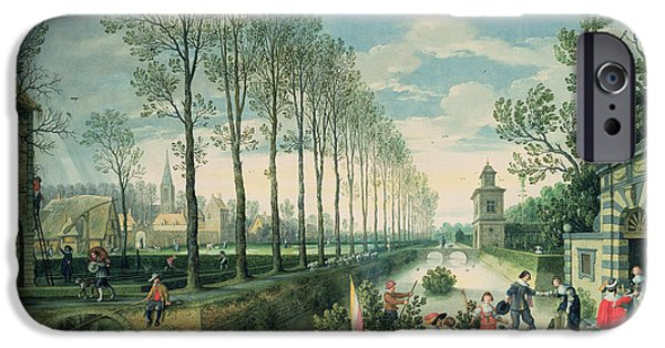 Punting iPhone Cases - The Four Seasons Spring Oil On Canvas iPhone Case by Sebastian Vrancx