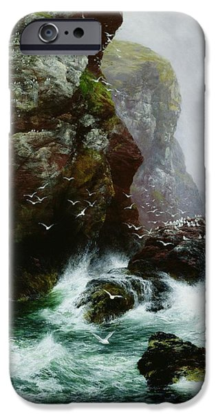 Cliffs iPhone Cases - The Fowlers Crag iPhone Case by Peter Graham
