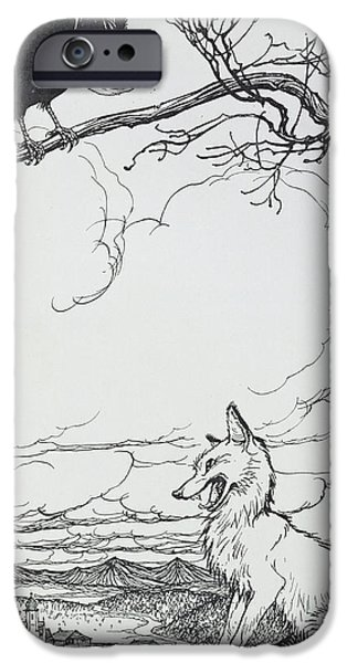 Fable iPhone Cases - The Fox and The Crow iPhone Case by Arthur Rackham