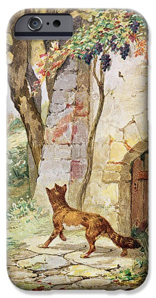 Fable iPhone Cases - The Fox And The Grapes, Illustration For Fables By Jean De La Fontaine 1621-95 Colour Litho iPhone Case by Jules David
