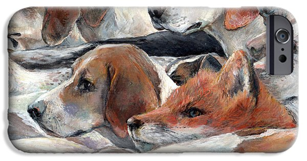 Beagles iPhone Cases - Fox Play iPhone Case by Donna Tucker