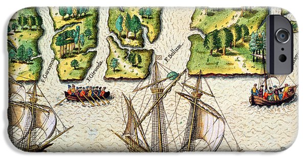 Native Drawings iPhone Cases - The French Discvoer Six More Rivers iPhone Case by Jacques Le Moyne