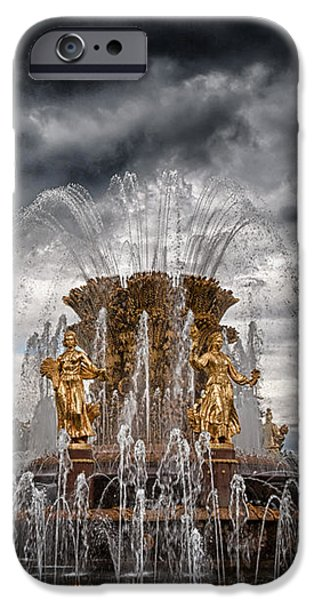 The Friendship Fountain moscow iPhone Case by Stylianos Kleanthous