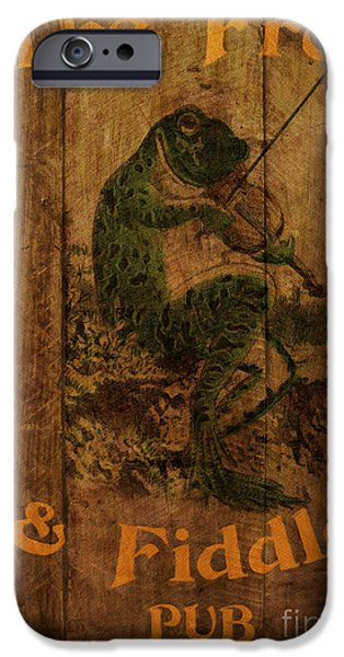 Amphibians Digital Art iPhone Cases - The Frog and Fiddle Pub iPhone Case by Cinema Photography