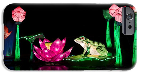 Amphibians Photographs iPhone Cases - The Frog and Lotus iPhone Case by Tim Gainey